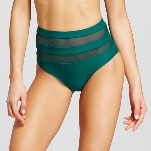 Mesh Inset Green Swim Bottoms